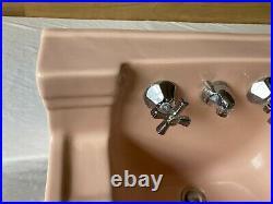 Antique Shelf Pink Porcelain Wall Sink Chrome Brass legs Vtg Standard 702-20E