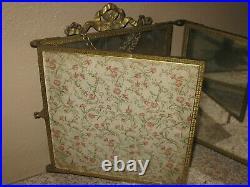 Antique Tri-fold 3 Panel Brass Mirror- Wall Hanging or Vanity Shaving Dresser