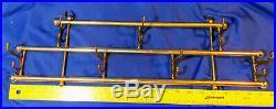 Antique-VTG 22 Brass Wall Mount Hat Coat Rack 7 Sliding Hooks Train Dinner Home