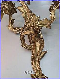 Antique VTG LOUIS XV ROCOCO ACANTHUS Florentine BRASS BRONZE WALL CANDLE SCONCES