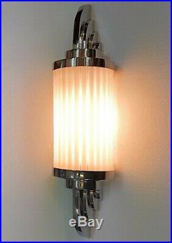 Antique Vintage Art Deco Nickel Brass & Milk Glass Ship Light Wall Sconces Lamp