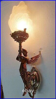 Antique Vintage Art Deco Nouveau Brass Mermaid Wall Sconces Fixture Light Lamp