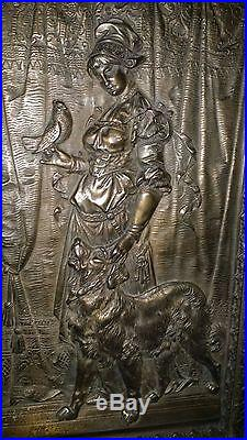 Antique Vintage Bronze Plated Cast Iron Woman Dog Bird Plaque Wall Hanging