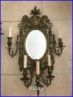 Antique Vintage French Brass Bronze Lions Crest Mirror Wall Sconce Girandole LG