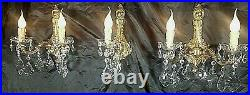 Antique Vintage French Versailles Empire Crystal Bronze Wall Lamps Sconces