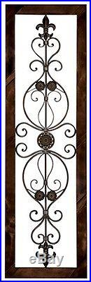 Antique Vintage French Victorian Brown Wood Metal Scroll Wall Art Panel Plaque
