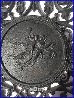 Antique/Vintage Iron Wall Plaque of Angel and Baby. Heat register/Furnace Grate