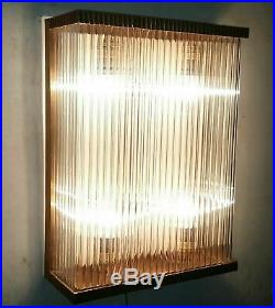 Antique Vintage Old Art Deco Brass & Glass Rod 4 Light Fixture Wall Sconces Lamp