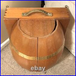 Antique Vintage Wood + Brass Barrel Bar Mini-Bar Wall Cabinet Made In Japan NEAT