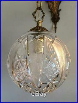 Antique Vtg Brass Czech Bohemian Cut Crystal Chandelier Lantern Sconce Wall Lamp