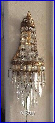 Antique Vtg Brass Petite Chandelier Sconce Wall Lamp French Crystals