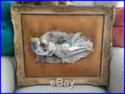 Antique Vtg Wood Framed Victorian Lovers Couple Porcelain Wall Plaque Italian