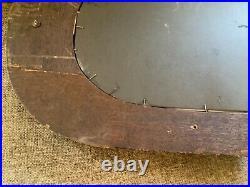 Antique Vtg Wood Oak Wall Mirror Beveled Glass Brass hooks hat coat rack oval