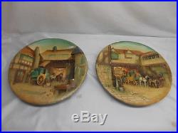Antique W. H. BOSSONS Chalkware PLAQUE set 2 Wall Hangings Decor England Old Vtg