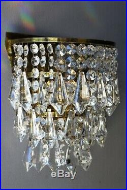 Antique Wall Light Brass Sconce Vintage Crystal Chandelier French Lamps Lighting