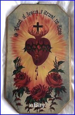 Antique or vintage original painting SACRED HEART Catholic art plaque wood wall