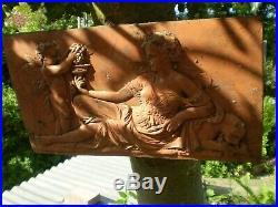 Architectural Garden, Vintage French Art Nouveau Cherub & Maiden Wall Plaque