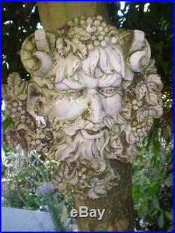 Architectural Salvage, Vintage French God Of Wine Wall Plaque, Green Man Style