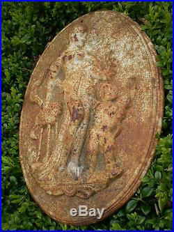 Architectural antique, Vintage French Cast Iron garden wall plaque, Mother & Child