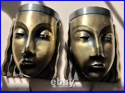 Art Deco Pair Wall Face Sconces Brass Finish Lamps PAIR Sarsaparilla 70's