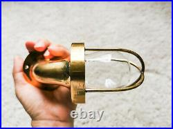 Authentic Vintage Petit Swan Neck Bulkhead Brass Wall Sconce / Cage Light