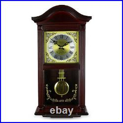 BEDFORD MMAHOGANY CHERRY WOOD 22 WALL CLOCK with PENDULUM and HOUR CHIMES NEW