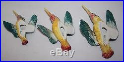Beswick Vintage Set of Kingfisher Wall Plaques 729/1,2,3 vgc