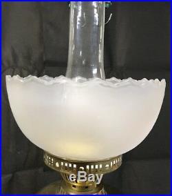 Big Vintage Brass Wall Sconce Kerosene Lamp Light Chimney Reflector Oil Hanging