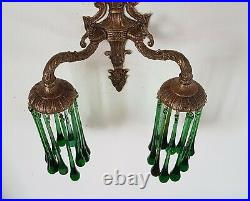 Bohemian Pair of Vintage French Wall Lights with Handmade Green Glass Drops