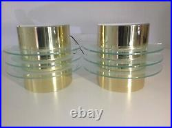 Brass Metal and Glass Vintage 80's Art Deco Wall Sconce Lights NOS Ikea Memphis