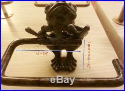 Brass Roll Tissue Paper Holder Hang GREEN FROG Vintage Toilet Wall Home Decor