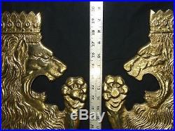 Brass Royal Lions Wall Décor Shield size Plaques Set Vintage Britannic Medieval
