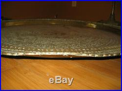 Brass Tray Table Top Vintage Large Round Chinese Hand Chased Wall Hanging 36 In