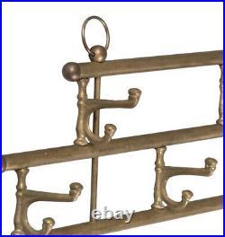 Brass Wall Hooks for Hat Rack / Coat Rack / Towel Hanger Vintage 7 Hooks