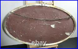 Brass art nouveau wall mirror bevelled glass oval antique vintage lead backing
