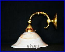 Brass vintage antique wall light sconce handmade French Opaline glass shade