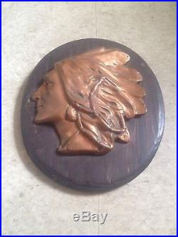 Bronze Native American Indian with Headdress Mounted Wall Hanging Plaque Vintage