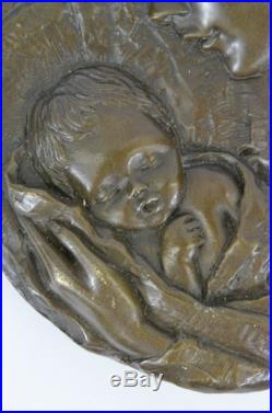 Bronze Signed Vintage Thomas Virgin Mary Holding Baby Jesus Wall Plaque Sculptur