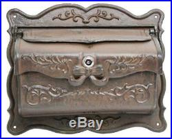 Cast Iron Vintage Style Mailbox Metal Wall Mount Letter Box with Lock and Key