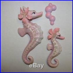 Ceramic Lilac & Pink Seahorse Wall Plaque Set for vintage & retro mermaid decor