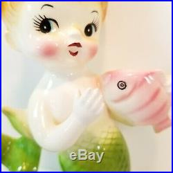 Ceramic Mermaid Merbaby Green Pink Fish Wall Plaque Hanging Figurine Vintage