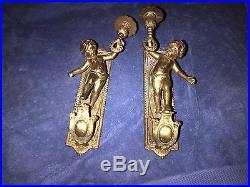 Cherub Wall Sconces Vintage Solid Brass