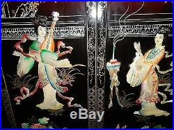 Collectors Chinese vintage lacquered mother of pearl wall art plaques set of 4