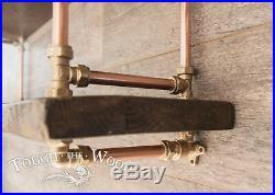 Copper Pipe & Brass STEAMPUNK Wall Shelf INDUSTRIAL Reclaimed Wood Display