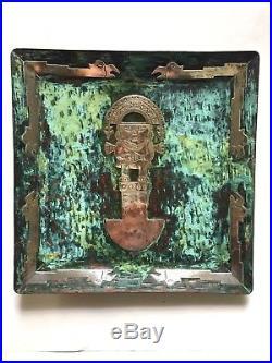 Copper Silver Peruvian Plate Wall Plaque Decor Aztec Style God Birds Vintage