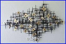Corey Ellis Art Certificate Retro Vintage MCM Brass metal wall sculpture C jere