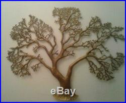 Curtis Jere Attributed Vintage Mid-Century Brass Tree Wall Mounted Sculpture
