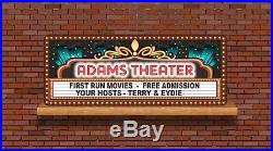 Custom Home Theater Sign with Movie Marquee Background, Retro Wall Art C1374