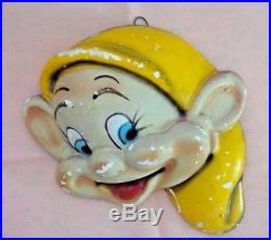 DISNEY Charactors Vintage Chalkware Wall Plaques Set of 3