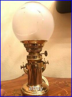 Danish Vintage Brass Captains Cabin E. S Sorensen Table & Wall Kerosene Ship Lamp